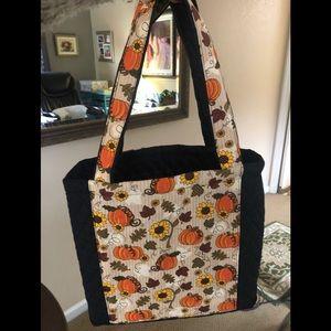 Homemade quilted pumpkin tote - brand new w/ bonus